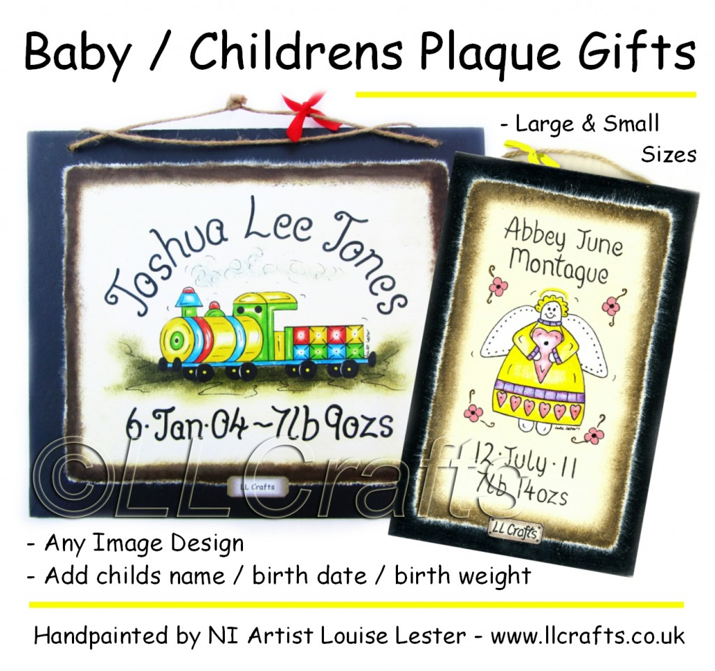 Personalized Baby Gifts Ireland : Baby gift painted birth plaques llcrafts northern